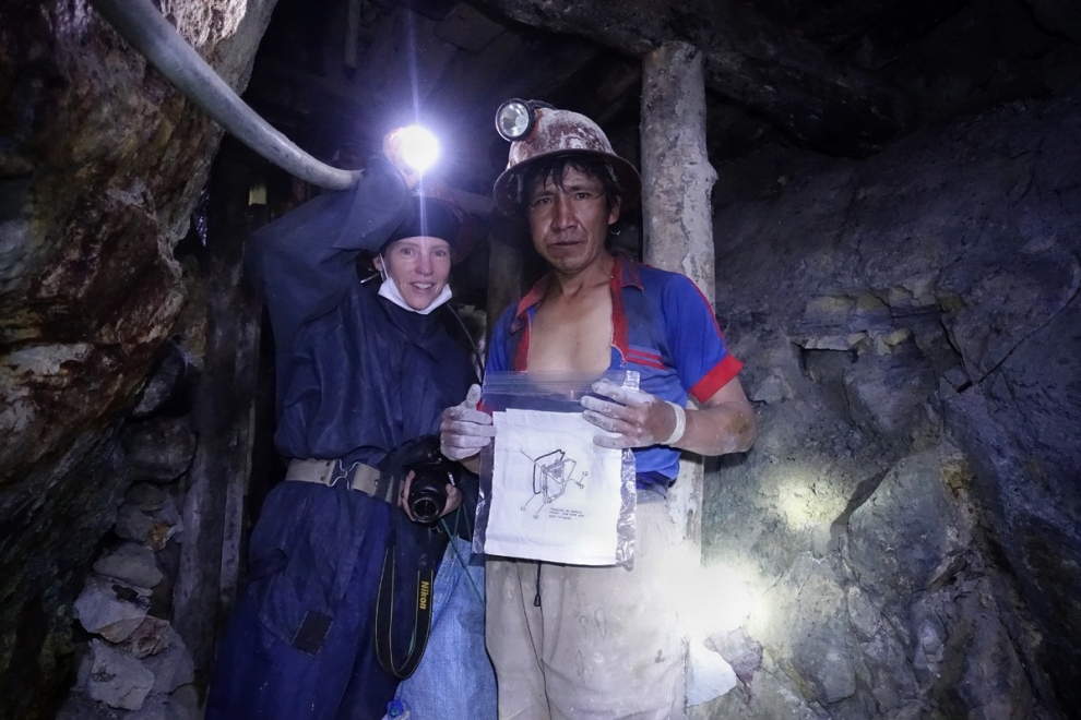 Heather with Ricky Martin, to whom she gave an artwork, as he was working deep inside the Cerro Rico silver mine in Potosí, Bolivia.