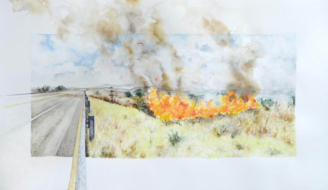 """""""Fire [Jiquipilas, Chiapas, Mexico]"""", watercolor on paper, 2016"""