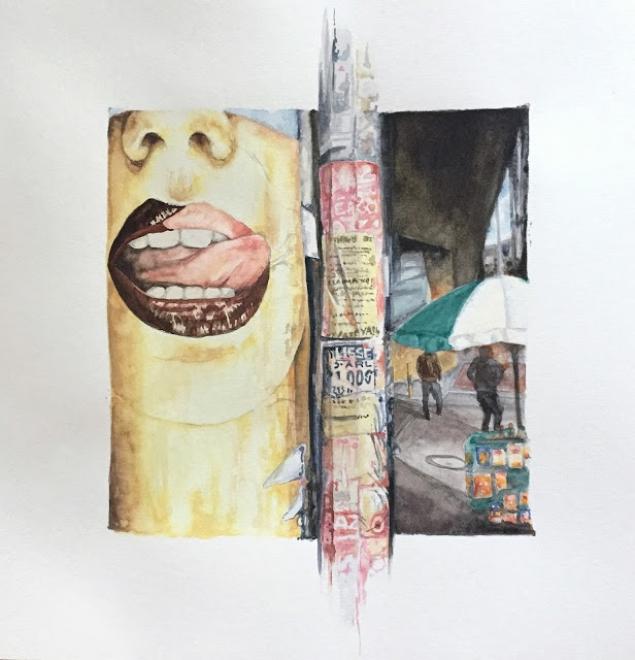 Underpass, Bogota. Watercolor on paper, 2016